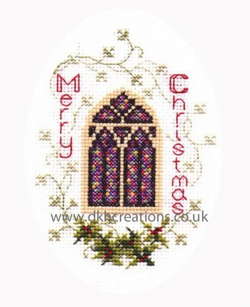 Stained Glass Window Christmas Card Cross Stitch Kit